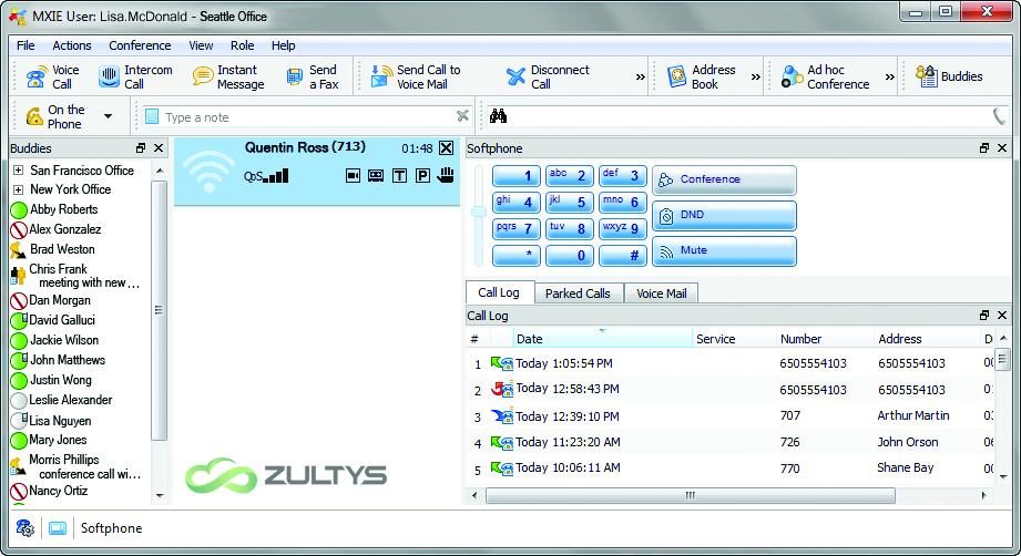 Zultys MXIE Interface