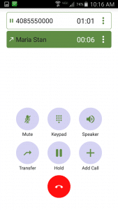 Zultys Mobile - Active Call