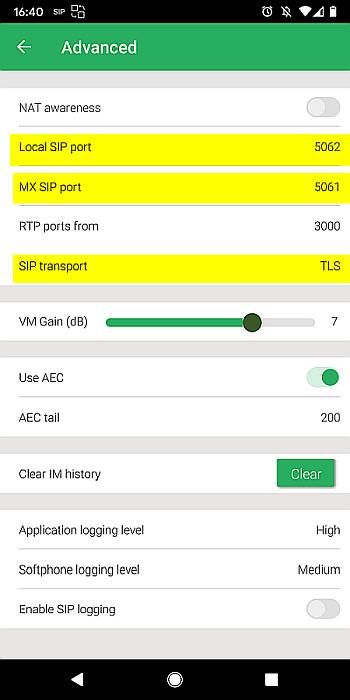 Zultys Mobile SIP TLS