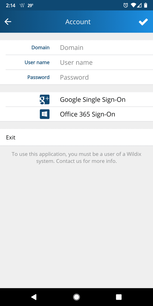 Wildix Mobile Login