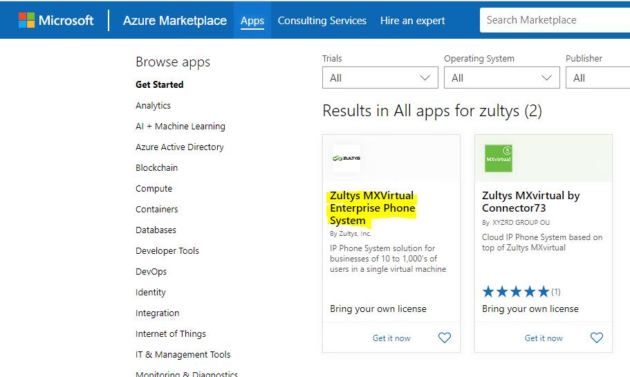 Zultys MXV Azure Marketplace