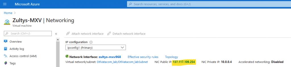 Azure - public IP link